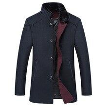 Новый Стенд Воротник Средней Длины Шерсть Пальто Slim Fit Куртки Мужские 50% Шерсть Ткань Толстые Теплые Палто Для Мужчин