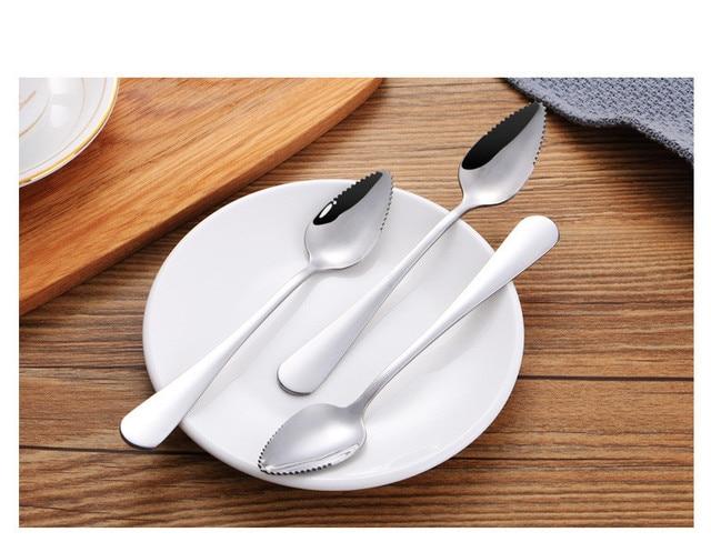 Cucharas de fruta de 1 pieza gruesas de acero inoxidable cuchara de pomelo postre borde serrado PO 001