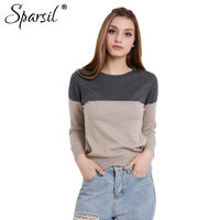 Autumn Winter Sweater 2014 NEW Women Fashion Pullovers O Neck Patchwork Knitted Cashmere Sweaters