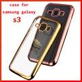 Hot caso de lujo para samsung i9300 galaxy siii s3 original contraportada clear transparent armor soft tpu del teléfono móvil de Oro caso