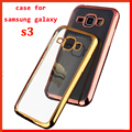 hot luxury case for samsung I9300 Galaxy SIII s3 original back cover clear transparent Gold armor soft tpu mobile phone case