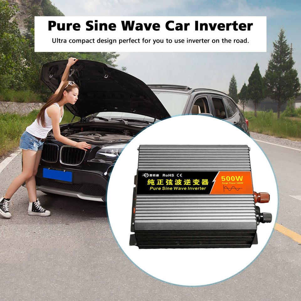 Pure Sine Wave Inverter 300W Car Power Inverter DC12V To AC220V Aluminum Alloy USB Converter High Efficiency Transformer Hot