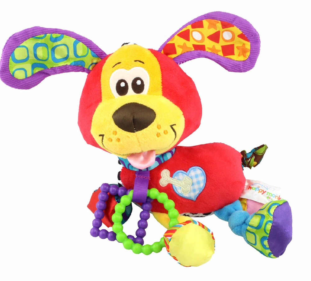 Baby Infant Toys Animal Soft Rattles Bed Crib Stroller Music Hanging Bell Toy Dog Kids Stuffed Toys Teether Children Doll Gifts
