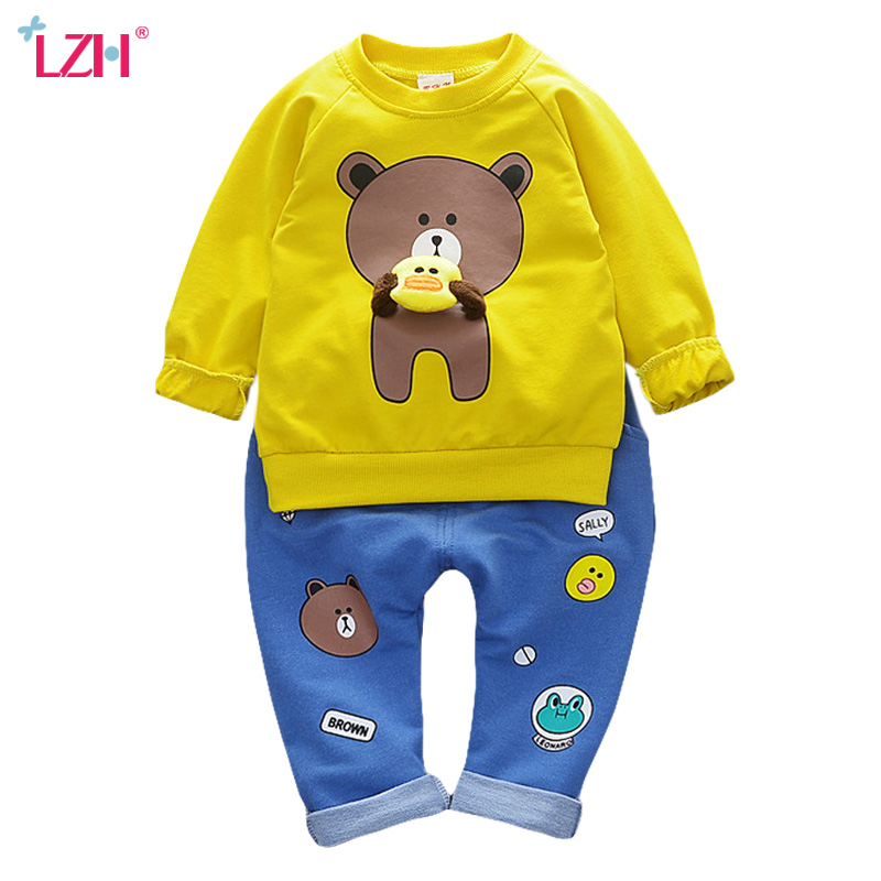 LZH Children Clothing 2017 Autumn Winter Baby Girls Clothes Set Long Sleeve T-shirt+Pants 2pcs Kids Sport Suit For Boys Clothes malayu baby kids clothing sets baby boys girls cartoon elephant cotton set autumn children clothes child t shirt pants suit