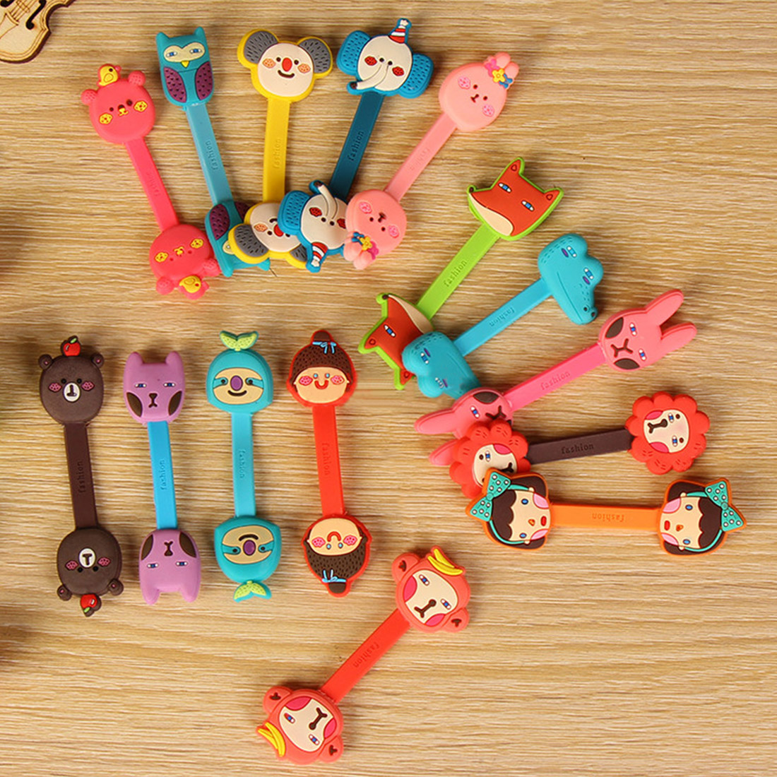 Cute button winder mobile phone headset cable organizer cartoon data cable storage hub Tidy Fastener
