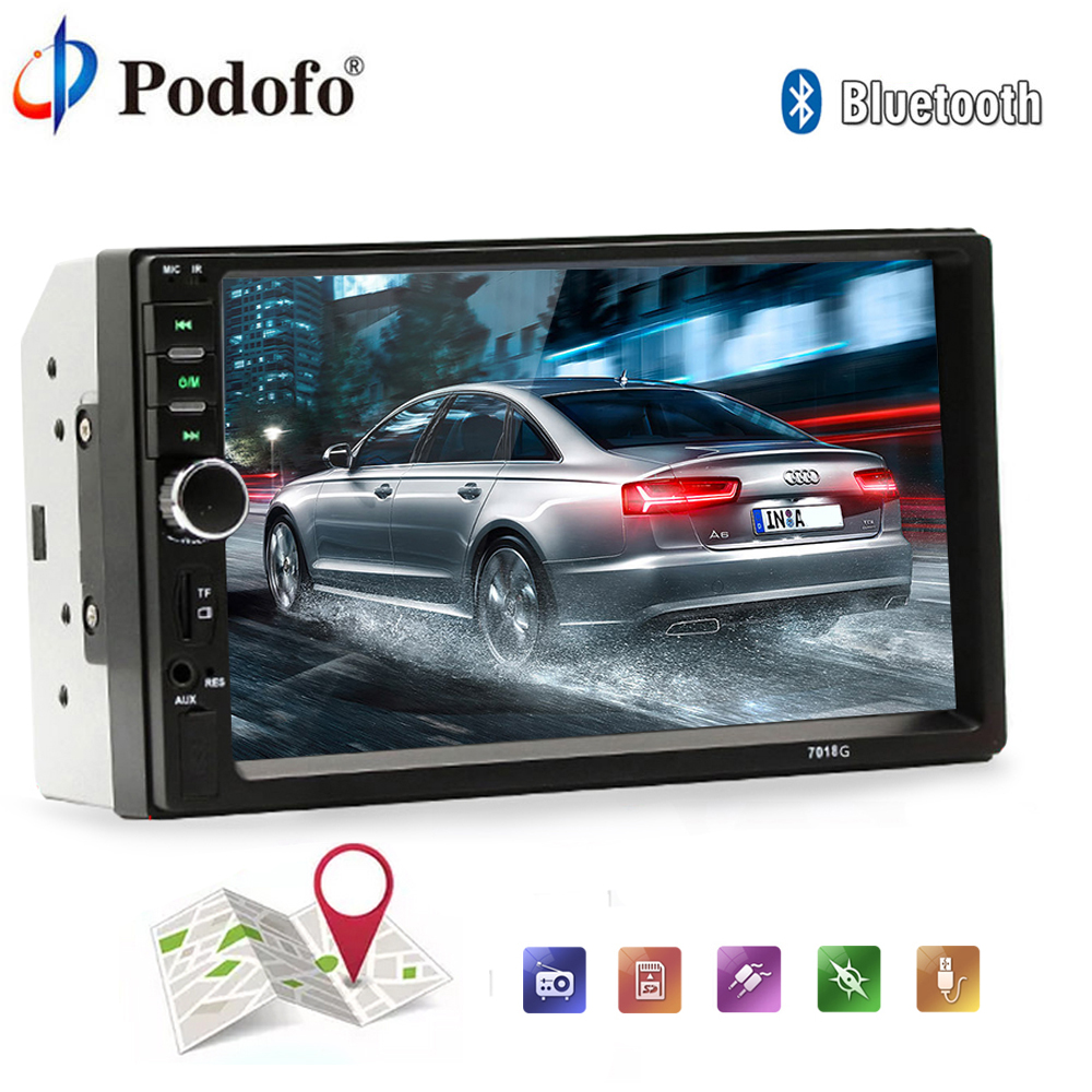 Podofo 2 Din 7HD GPS Car Radio Bluetooth Audio Stereo MP3 MP5 Multimedia Player USB SD AUX Touch Screen Stereo Rear View Camera 2 din 7 car stereo radio bluetooth hd touch screen fm mp5 mp3 usb aux with rear view camera car bluetooth aux radio player