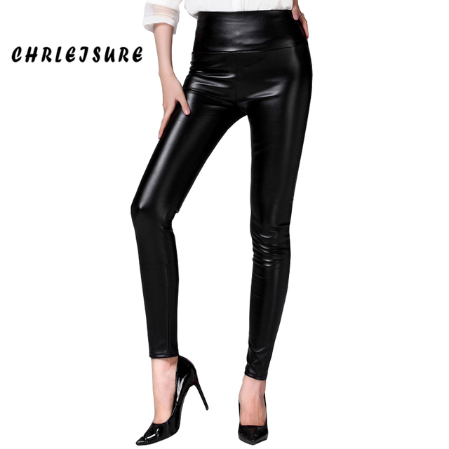 2016 Black S-XXL Women Velvet Warm Leggings Fashion Faux Leather Sexy Spandex Soild High Waist Legging Leggings Women Plus Size