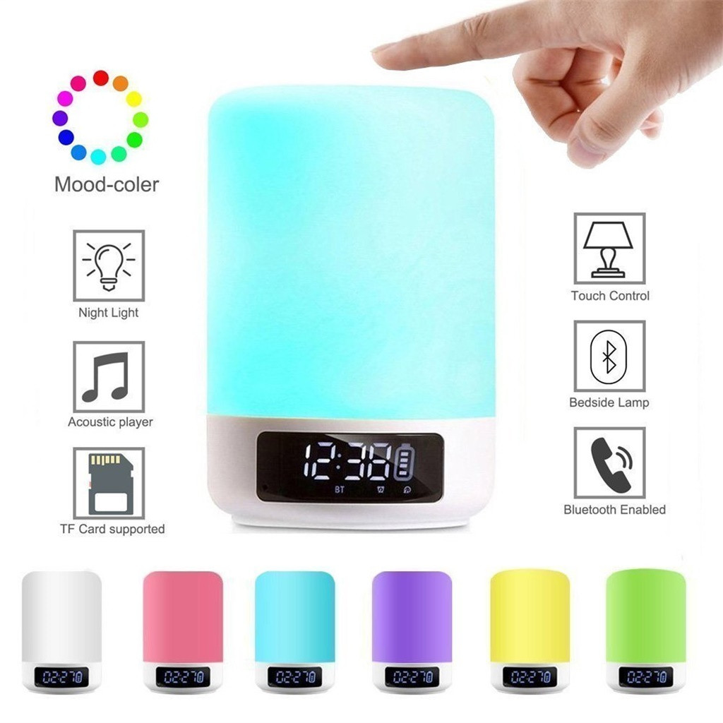 Alarm Clock With 48 Colors To Change The LED Lights Bluetooth Speaker Colorful LED Wake Up Night Light Bedside Lamp