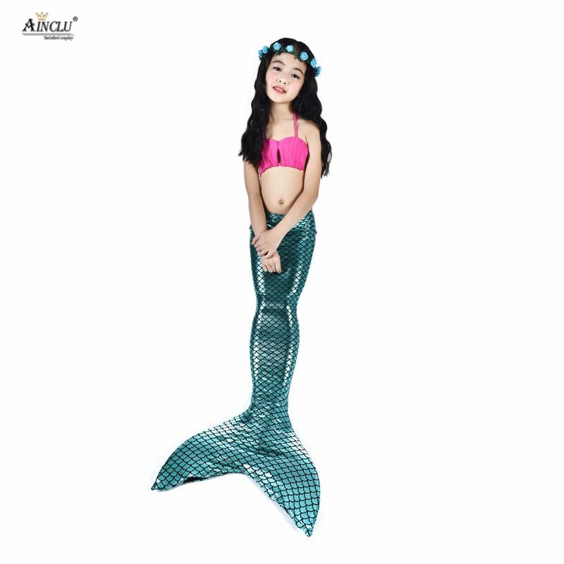 Hot Sale 5pcs Girls Blue Mermaid Tail Swimwear Bathing Suit Cosplay