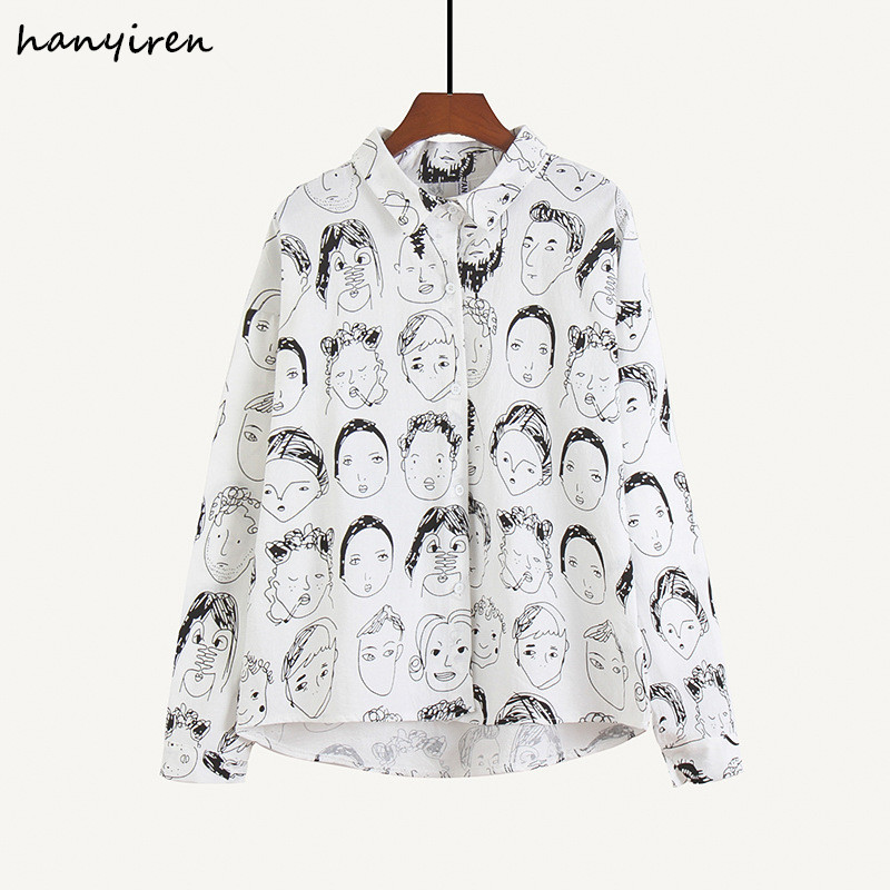 hanyiren Women Graffiti Blouses Casual Shirts White Solid Long Sleeves Fashion Character Printed Blouse Streetwear Hip Hop Shirt