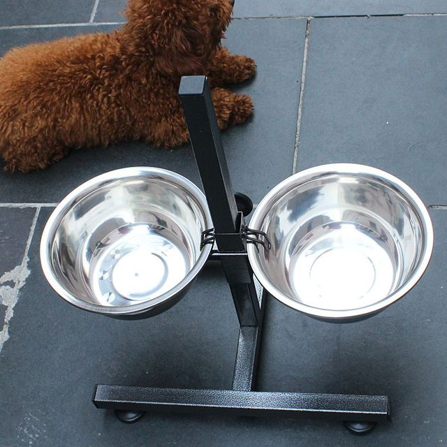 Dog Stainless Steel Double Bowl CW20 4