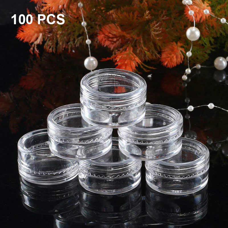 100pc Plastic Transparent Small Bottle Cosmetic Empty Jar Pot Eyeshadow Lip Balm Face Cream Sample Container 5ml Sample Pots