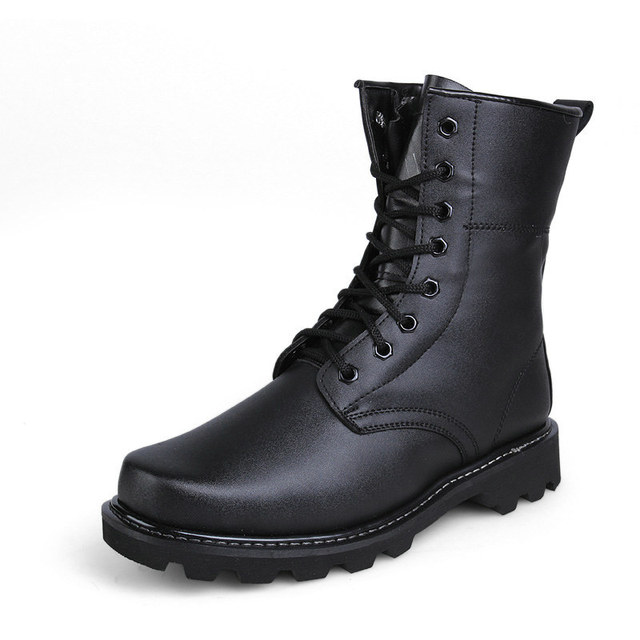 Autumn and Winter Classic Black Military Work Boots With Warm Natural Wool Police  Boots Shoes For Men Botas Size 39 - 44 e1ab7b90b