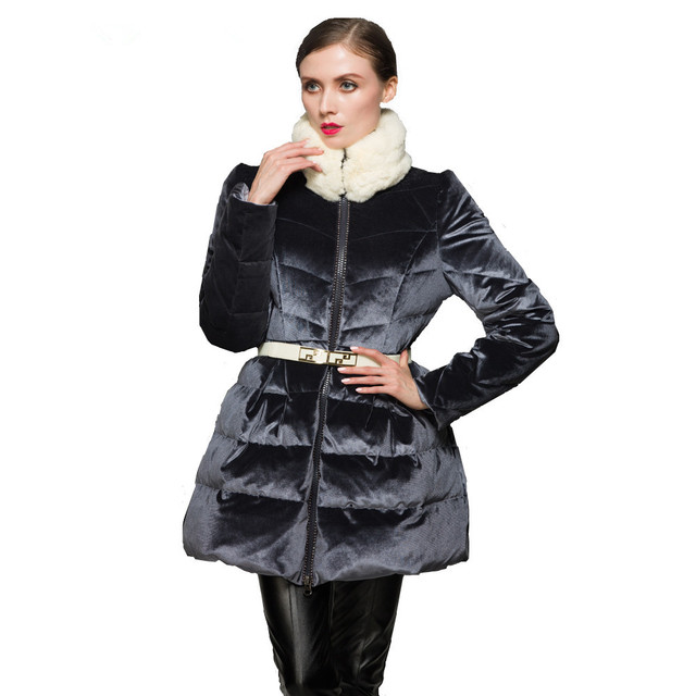 76569085739cb Winter jacket women 2018 new high-end luxury velvet girls long slim rabbit  fur collar jackets for women Skirt hem down jacket