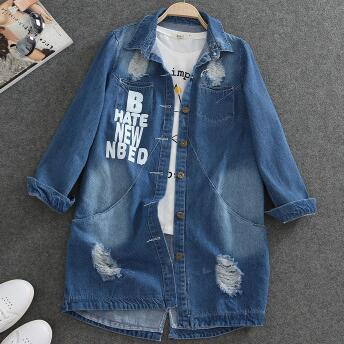 Spring Turn Down Collar Slim Jeans Women Tops Broken Hole Long Sleeve Ladies Washed Denim Jacket Women Coat Outerwear