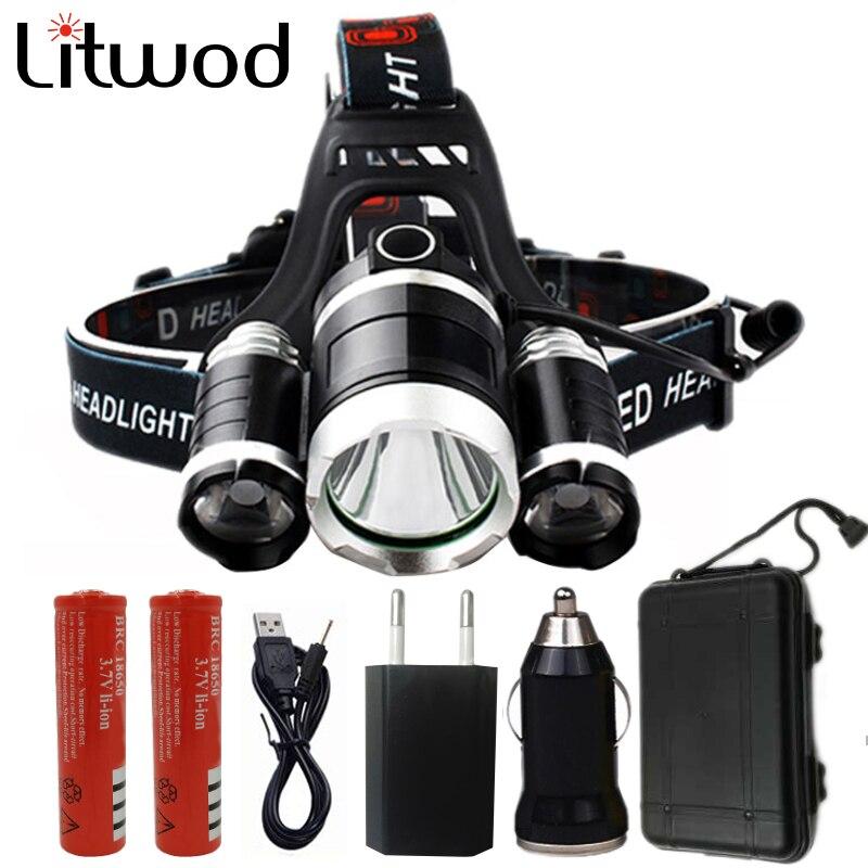 Z10 led projecteur Phare 9000 Lumen puces 3x XML T6 super lumineux LED Tête De Lampe-torche Rechargeable batterie