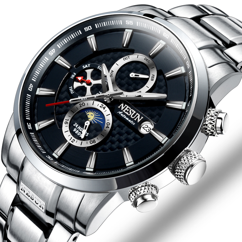NESUN Luxury Brand Switzerland Watches Men Multifunctional Display Automatic Self-Wind Watch Luminous Waterproof clock N9809-3 switzerland watches men luxury brand men s watches binger luminous automatic self wind full stainless steel waterproof b5036 10