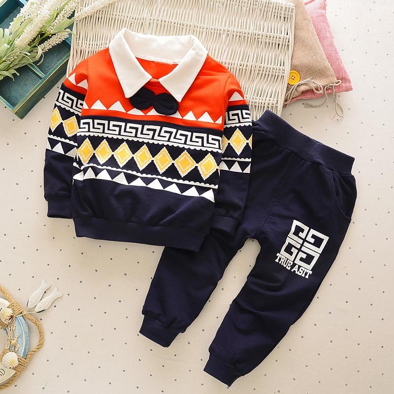 2016 brand turn down collar baby boy clothes newness infant boys suits geometry print loose pants 2pcs conjunto infantil menina