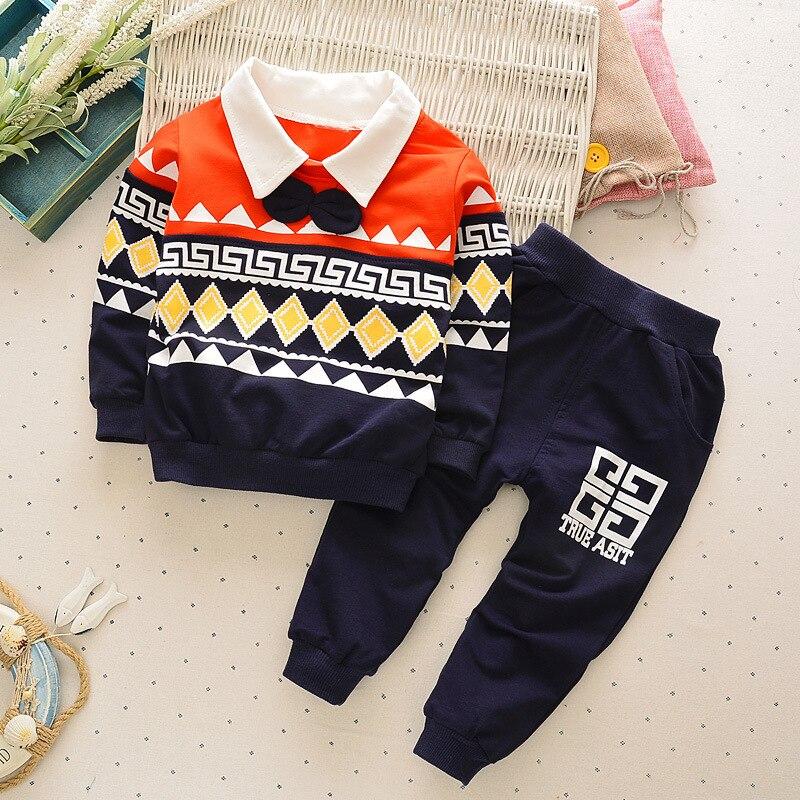 2016 brand turn down collar baby boy clothes newness infant boys suits geometry print loose pants 2pcs conjunto infantil menina ...