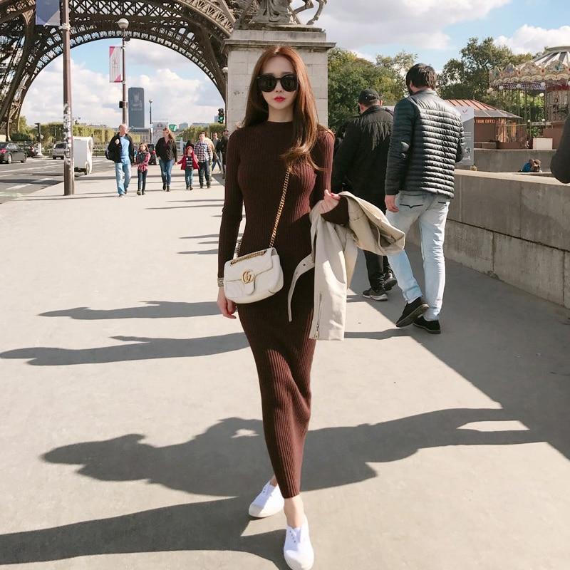 dfd18c5874f BGTEEVER зима толстый длинный Платья-свитеры Для женщин трикотажное платье  длиной до лодыжки Тощий Теплый