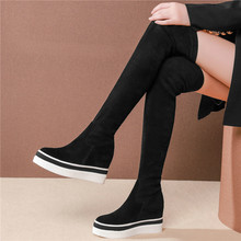 Long Trainers Women Black Genuine Leather Elastic Stretch High Heel Over The Knee High Boots Wedges Platform Punk Pumps Creepers цена