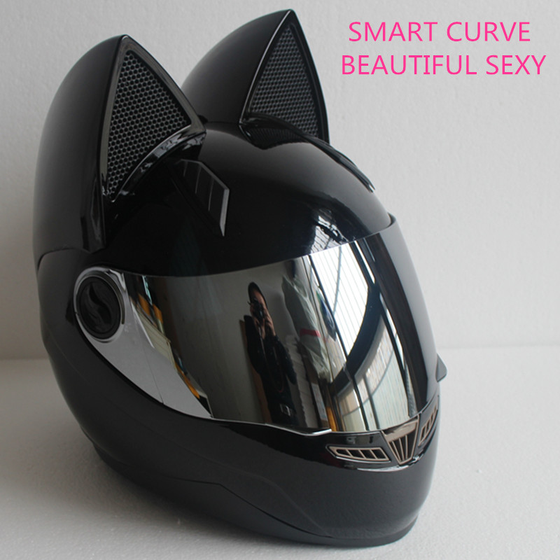 Full face motorcycle cat ear helmet