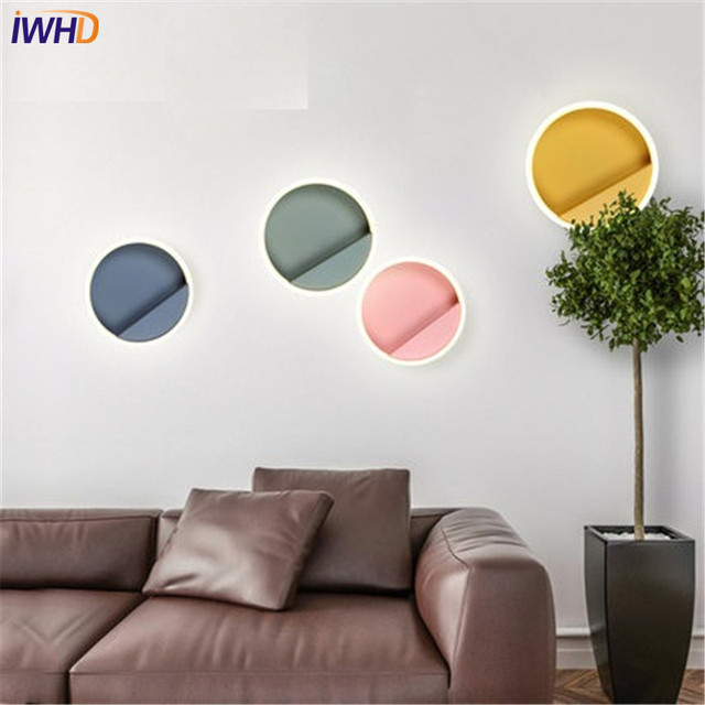 IWHD Nordique Creative Moderne Applique Murale Simple Couleur Ronde