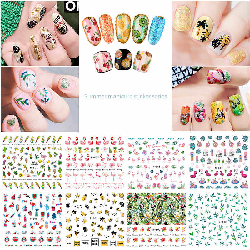 Mtssii 1PC 18 Designs 3D Water Decals Slider Summer Beach Fruit Flamingo  Parrot Watermark Nail Sticker Decoration Wraps Manicure