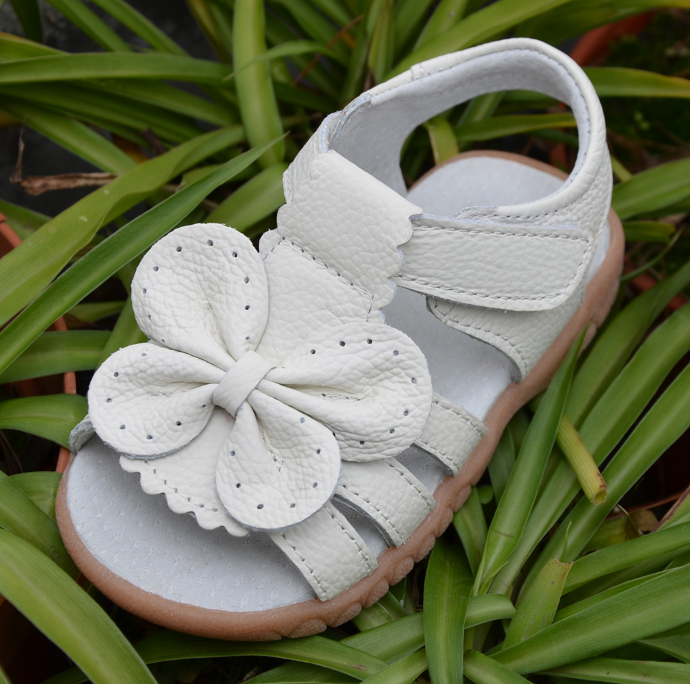 2019 new genuine leather girls sandals white summer walker shoes with butterfly antislip sole kids toddler 12.3-18.3 insole