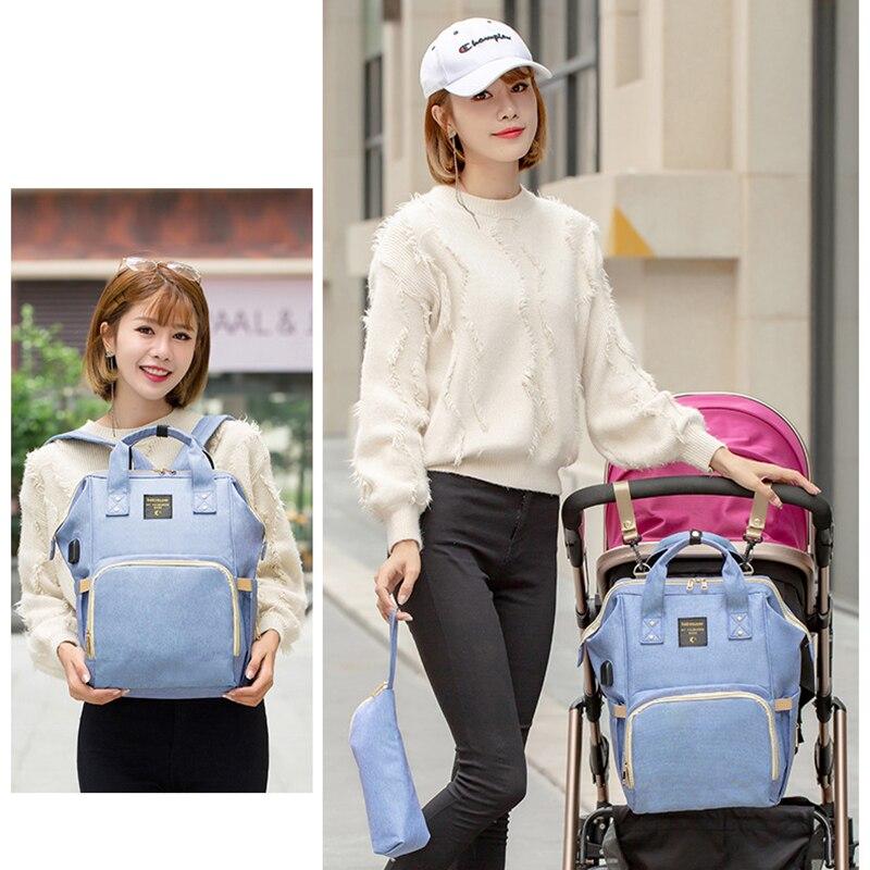 Купить с кэшбэком Baby Diaper Bag USB Large Capacity Nappy Bag Waterproof Mommy Travel Nursing Backpack & Wristlet Bag + Stroller Hooks (S5