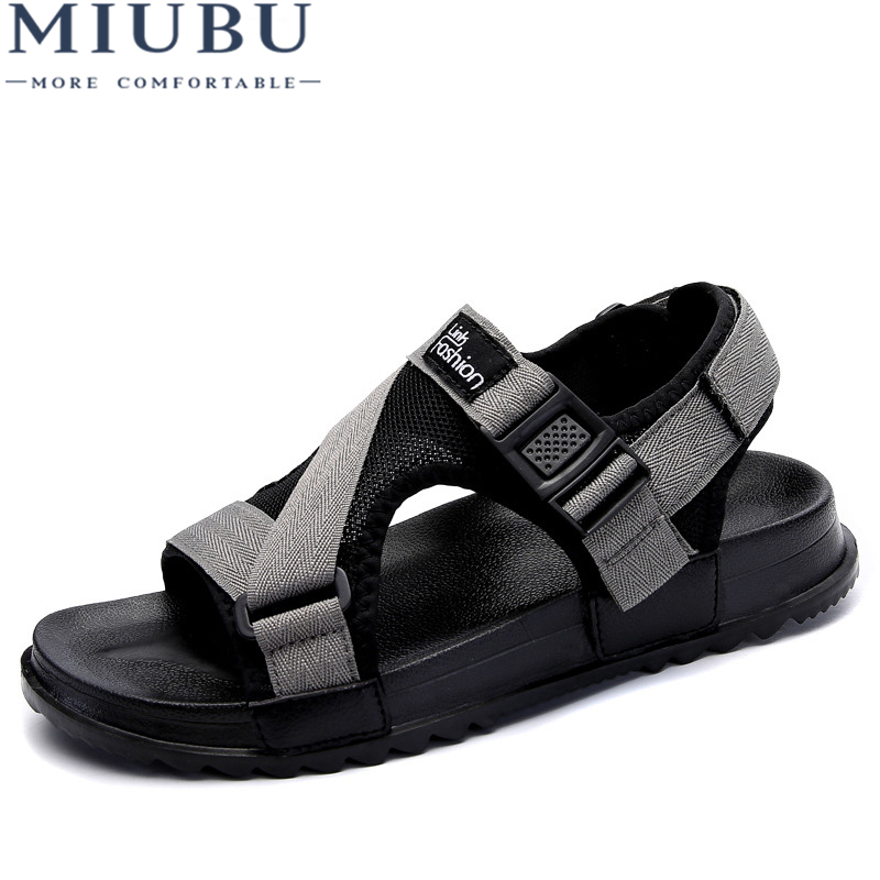 MIUBU Men fashion sandals new fashion hook-loop sandals men casual shoes comfortable light flats zapatos size 38-46