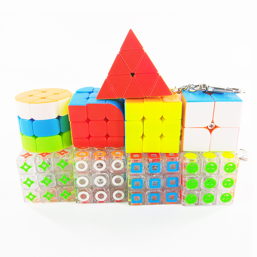 Mini Keychain Cube Portable 2x2x2 3x3x3 Cylinder Pyramid Trihedron Cubo Magico Educational Puzzle Cube Toys For Children
