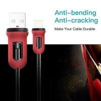 273f7ad4090 Snowkids Cable para iPhone 7 6X8 5 XR XsMax iPad rojo y negro armadura  diseño de