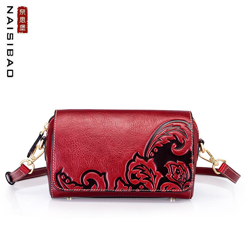 NAISIBAO New Genuine Leather handbags top Cowhide Embossing  bags Fashion Luxury women leather shoulder crossbody bagsNAISIBAO New Genuine Leather handbags top Cowhide Embossing  bags Fashion Luxury women leather shoulder crossbody bags