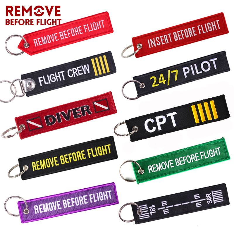 Remove Before Flight Car Keychains Berloques Red Embroidery Highlight Key Fobs Chains Jewelry Aviation Gifts Chaveiro Masculino