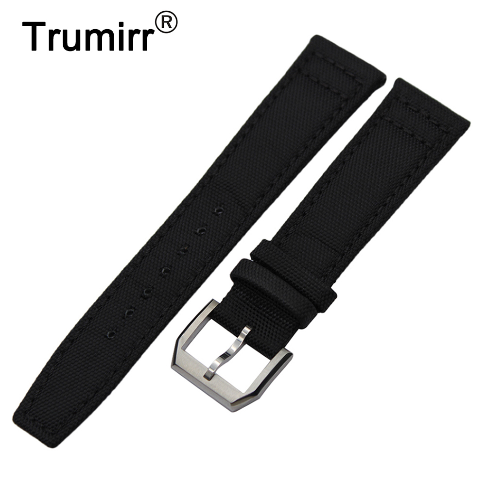 Canvas + Genuine Leather Watchband for IWC Pilot Portugieser Watch Band Steel Buckle Strap Nylon Wrist Bracelet 20 21 22mm Black genboli genuine leather wrist band watch strap for fitbit charge 2 smart bracelet replace watchband with steel buckle