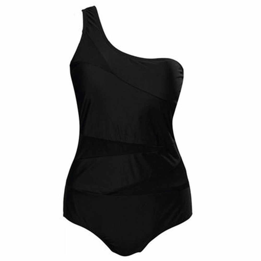 ملابس سباحة حريمي لون أسود سادة قطعة واحدة ملابس سباحة نسائية شفافة بكتف واحد ملابس سباحة مثيرة قطعة واحدة للنساء 2019