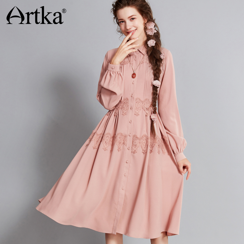 ARTKA 2018 Autumn Winter Vintage Elegant Lantern Sleeves Shirt Collar Lace Appliques Dress LA10771Q