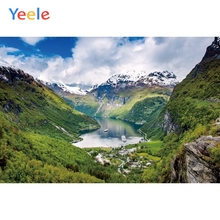 Yeele Landscape Wallpaper Mountain Ship River Sky Photography Backdrops Personalized Photographic Backgrounds For Photo Studio