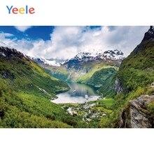 Yeele krajobraz tapety górski wysłać mały parowiec pasażerski niebo zdjęcia tła spersonalizowane fotograficzne tło do zdjęć Studio