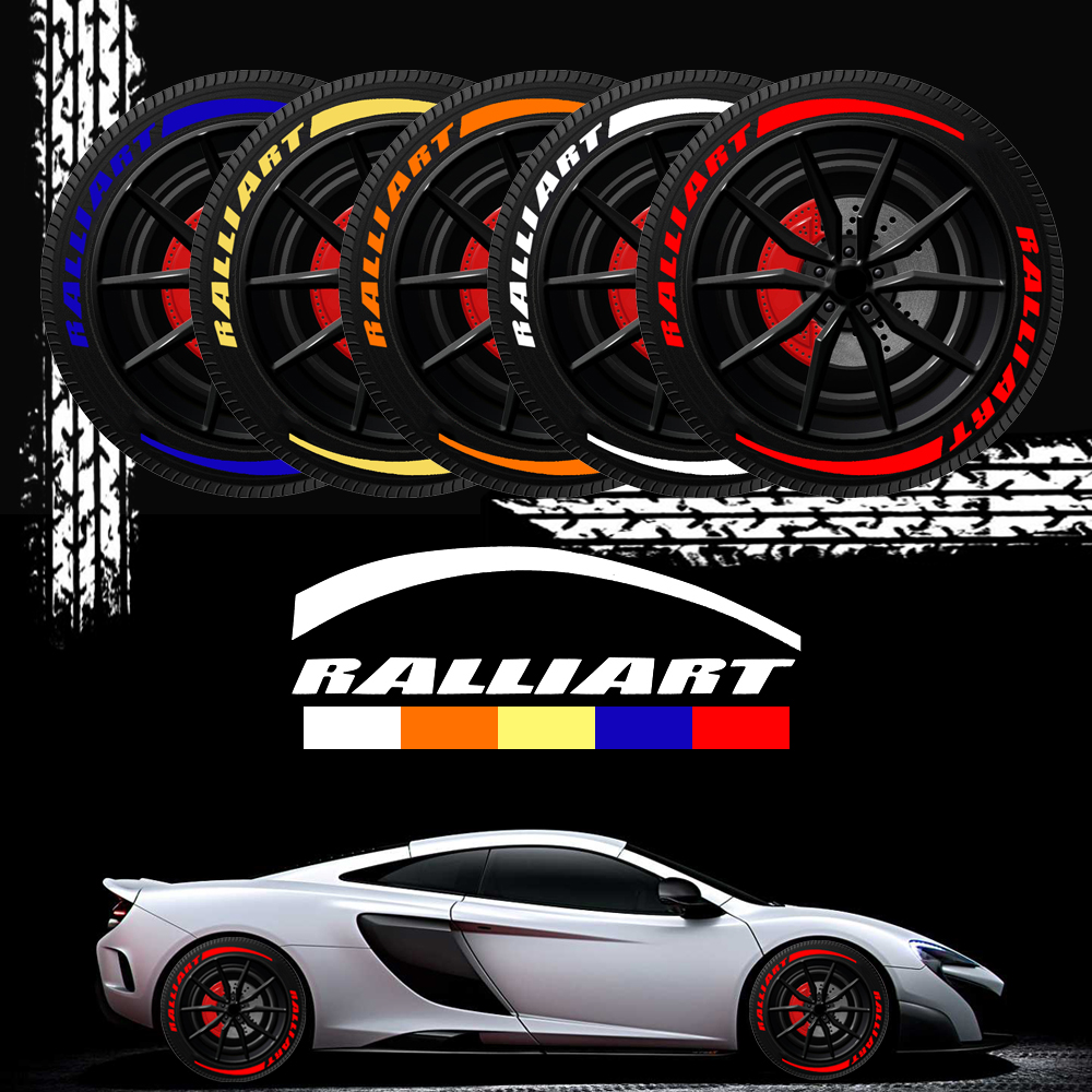 Fashion Car Wheel <font><b>Stickers</b></font> Tire Ralliart 3D <font><b>Sticker</b></font> Letter Custom emblems For Mitsubishi ralliart <font><b>Lancer</b></font> 9 <font><b>10</b></font> Pajero Car Styling image