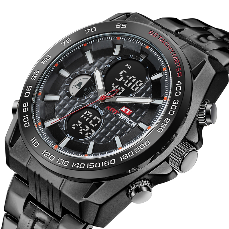 Men <font><b>Watch</b></font> Waterpoof 50 Meters PVD Black Big <font><b>Watch</b></font> Case <font><b>52mm</b></font> Dual Display Digital <font><b>Watch</b></font> Men Stainless Steel Reloj Hombre 2018 image