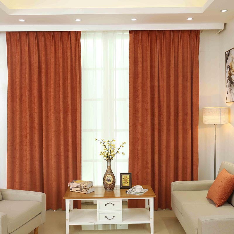Funique High Quality Orange 1 Pc Luxury Solid Color Chenille Curtains For Living Room Window Curtains