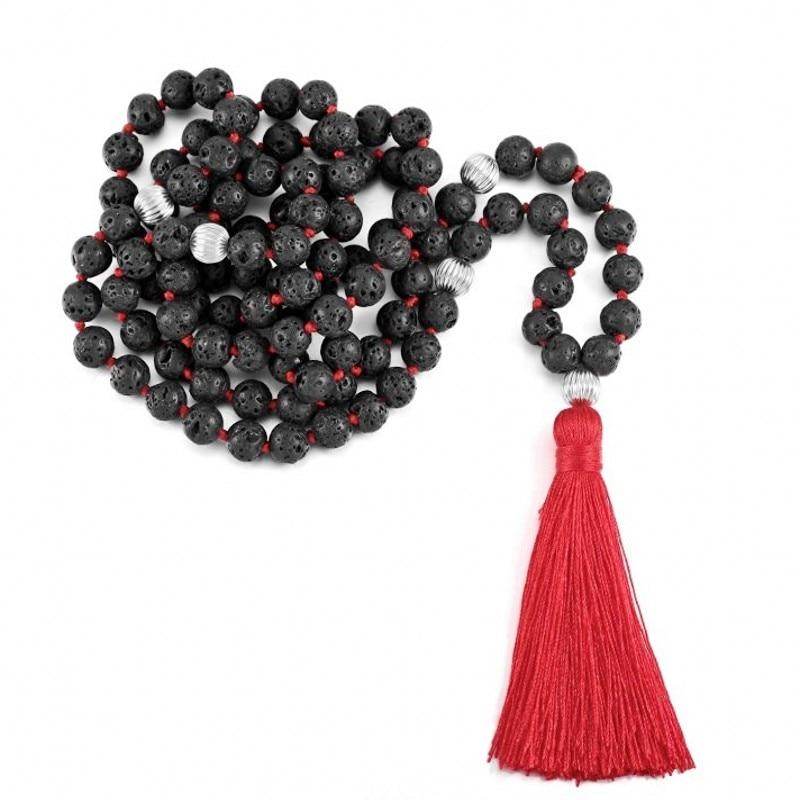 "8 mm juodo budizmo lavos akmens akmens ""Mala Prayer Bead"" ilgas karoliai"