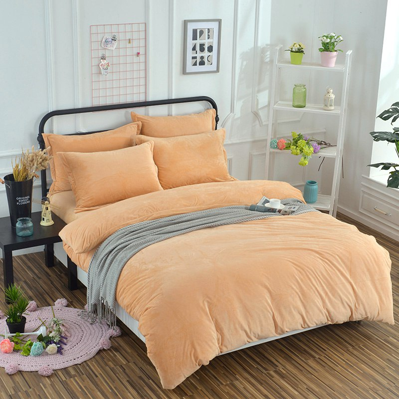 Flannel Fleece Winter Thick Pure Color Bedclothes Bed