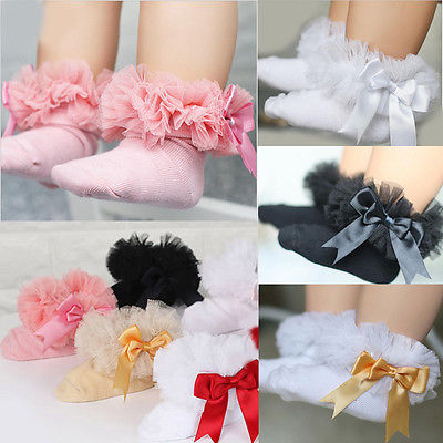 все цены на 2017 Infant Toddler Baby Girls Kids Princess Bowknot Lace Floral Short Socks Cotton Ruffle Frilly Trim Ankle Socks 2-6Y онлайн