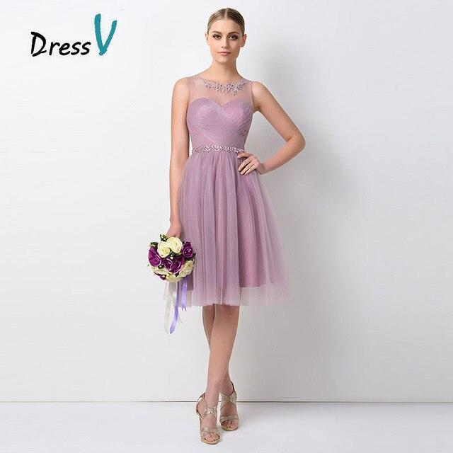 Dressv Ziemlich Kurz Lavendel Brautjungfer Kleider Sheer O ansatz A ...