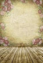 Laeacco Retro Flowers Pattern Wall Wooden Floor Scene Photography Backgrounds Custom Photographic Backdrops For Photo Studio