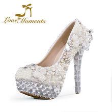 2016 luxury fashion Pearls rhinestone white  Wedding Shoes Bride Dress Shoes bridesmaid high heels pumps