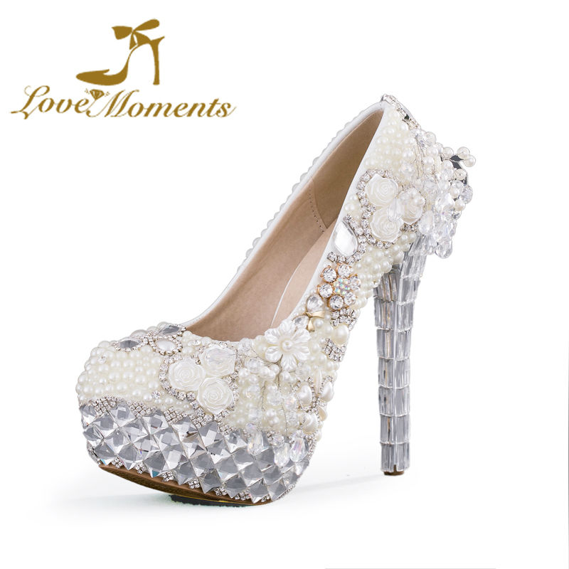Love Moments shoes woman Pearls white Wedding Shoes Bride Dress Shoes bridesmaid high heels pumps party Shoes Crystal Platforms